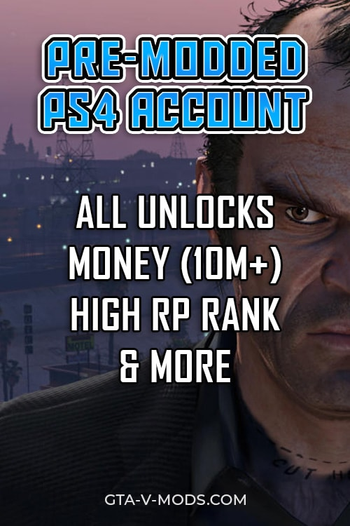 pre-modded playstation 4 account GTA 5